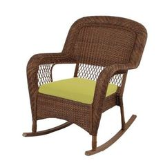 Superb Martha Stewart Living Charlottetown White All Weather Wicker Patio Rocking  Chair With Washed Blue   The Home Depot