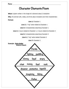 Character Diamante Poem. Free download from TPT