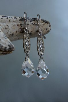 Vintage assemblage earrings clear crystal drop statement earrings assemblage jewelry-by French Feather Designs.