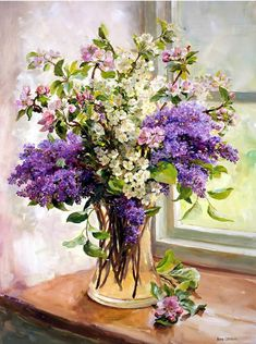 Lilac and Other Blossom - Blank Card by Anne Cotterill