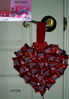 regalos para novios boda Snickers Heart Ornament - I might make this for Rylan's teachers this year! Valentine Treats, Valentine Day Crafts, Happy Valentines Day, Holiday Crafts, Holiday Fun, Valentine Baskets, Valentines Surprise, Kids Valentines, Valentine Heart