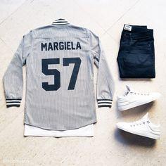 """Maison.  Over shirt: @lesartists Maison Margiela baseball tee Tee: @stampdla L.A. pocket tee Denim: @acnestudios Max New Cash Sneakers: @fillingpieces x…"""