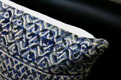 Indigo Rug Cushion Cover, Rug Pillow, Handwoven, Block Printed, Traditional Indian, Pillowcase, Decorative Pillow, Geometeric Shapes, Basic