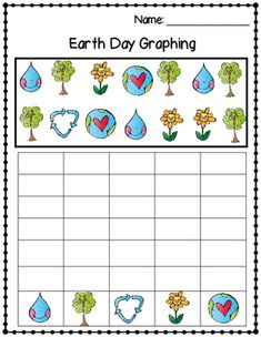 Earth Day: Picture Count and Graph Worksheet #earthday #holiday #earth #graphing #math #kindergarten #firstgrade #activity