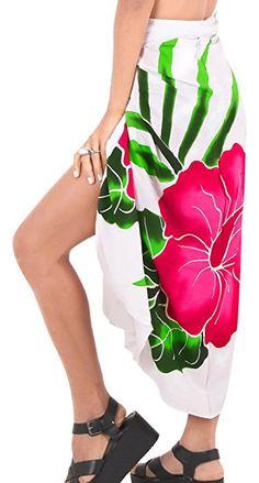 ee851ef04e513 La Leela Rayon geometric hibiscus long maxi skirt oversize pareo swim skirt  scarf women Printed White one Size. La Leela · Beach Sarongs Blogs