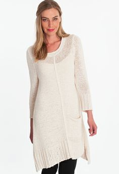 reflection tunic- features a single patch pocket, and softly rolled neckline. Ideal for wear on weekends. Single knit. Special tape yarn. Available in 5 colors.