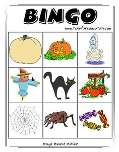 halloween bingo bingo card making website - Preschool Halloween Bingo