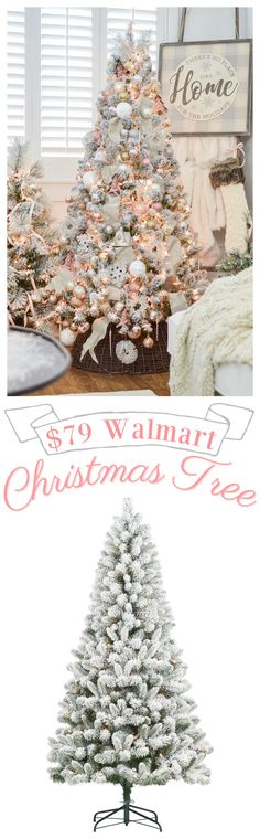 My $79 Pre Lit Flocked Christmas Tree - Affordable flocked Christmas tree option - artificial tree review - #christmastree #affordablechristmas #christmasdecoratingideas #flockedtree #flockedchristmastree #christmastreereview Walmart Christmas Trees, Flocked Christmas Trees Decorated, Cheap Christmas Trees, Flocked Trees, Ribbon On Christmas Tree, Christmas Swags, Holiday Tree, Christmas Tree Decorations, Christmas Holidays