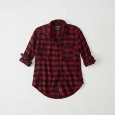 Abercrombie & Fitch Plaid Flannel Shirt ($23) ❤ liked on Polyvore featuring tops, red check, checkered shirt, red plaid top, plaid top, shirt top and checkerboard shirt