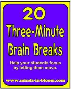 Brain breaks are an increasingly important aspect of daily classroom life. Here are 20 three-minute brain breaks to help you refocus your class! Classroom Behavior, School Classroom, Classroom Activities, School Fun, Classroom Organization, Classroom Management, Activities For Kids, Classroom Ideas, Movement Activities