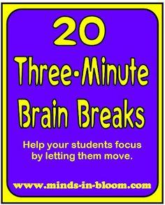 Brain Breaks para cuando los estudiantes estan super cansados.