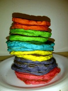 Rainbow Pancakes I made! They were a hit at the sleepover