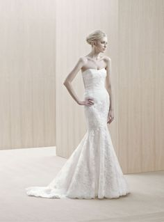 """""""Elim"""" silk organza and lace mermaid wedding dress with a pleated bodice, Blue By Enzoani"""