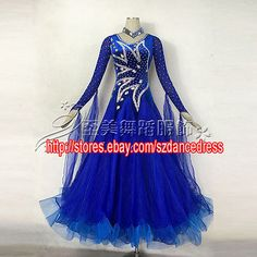 Women Everday Ballroom Standard Tango Watlz Dance Dress Royalbule