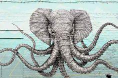 Elephant-Octopus street art by Alexis Diaz