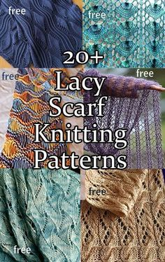 Lacy Scarf Knitting Patterns with many free scarf patterns Lace Knitting Patterns, Shawl Patterns, Loom Knitting, Knitting Stitches, Free Knitting, Knitting Hats, Finger Knitting, Stitch Patterns, Knitting Machine