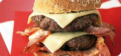 This tasty burger is perfect for grilling and a hit for family mealtimes too! Towering inside a bun with meltingly delicious cheese and tangy mayonnaise, who'd know you were losing weight? Delicious Burgers, Tasty Burger, Cheeseburger Recipe, Feeling Hungry, Slimming World Recipes, Bacon, Grilling, Lose Weight, Mayonnaise