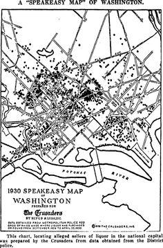 A speakeasy map of Washington, c.1930