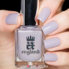 A-England Cathy Nail Polish (Emily Bronte Collection)  A-England Cathy is a lilac toned grey holographic polish with a ghostly blue flash.
