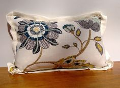 """Decorative Throw Pillow 12 x 18"""" Warm-White Linen With Gold, Blue, Green and Gray Floral Pattern Pillow Cover FREE SHIPPING"""
