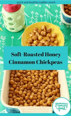 Soft-Roasted Cinnamon Chickpeas to mix up toddler snack time! These are quick to make and pack a lot of nutrition into snacktime! for toddlers, Soft Roasted Chickpeas with Cinnamon Healthy Finger Foods, Healthy Toddler Snacks, Toddler Meals, Toddler Food, Healthy Food, Toddler Recipes, Healthy Kids, Kids Meals, Healthy Lunches