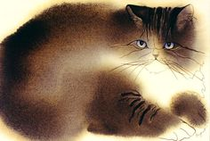Cuddly fat cat painting by award-winning wildlife artist Sherry Bryant Watercolor Cat, Watercolor Animals, Son Chat, Cat Paws, Cat Drawing, Dog Art, Crazy Cats, Animal Drawings, Pet Birds