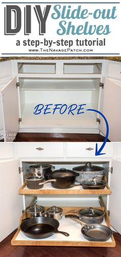 DIY Slide-Out Shelves & DIY pull-out shelf tutorial & DIY Pull-out shelves for the kitchen & Easy DIY roll-out shelves & How to make DIY& The post DIY Slide-Out Shelves Tutorial & The Navage Patch appeared first on Ajwa Homes. Diy Kitchen Cabinets, Kitchen Cabinet Organization, Kitchen Cabinet Design, Kitchen Redo, New Kitchen, Cabinet Ideas, Kitchen Ideas, Kitchen Remodeling, Organization Hacks