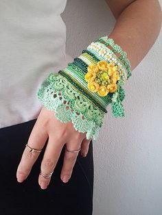 Bracelet crochet cuff, crochet jewelry, cotton thread with crocheted roses and sand beads, green and yellow ethno wristband, gift for her