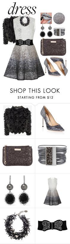 """""""Glitter"""" by constanceee64 ❤ liked on Polyvore featuring Alexander McQueen, Jimmy Choo, Kate Spade, Kenneth Cole, Kimberly McDonald, Georges Hobeika and Black"""