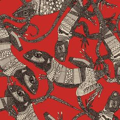 just lizards red fabric by scrummy on Spoonflower - custom fabric Surface Pattern Design, Pattern Art, Textures Patterns, Print Patterns, Graphic Prints, Poster Prints, Art Graphique, Fabric Swatches, Fractal Art