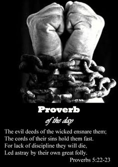 The evil deeds of the wicked ensnare them;  the cords of their sins hold them fast. For lack of discipline they will die, led astray by their own great folly. -Proverbs 5:22-23 (NIV)