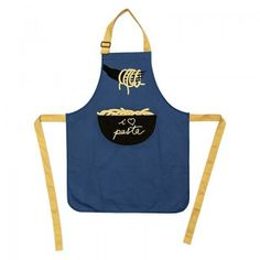 Kitchen apron with big pocket in front; decorations inspired at different popular italian themes; canvas 230gr.
