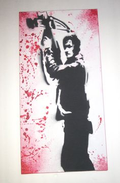 Walking Dead/Daryl Dixon inspired graffiti style painting.
