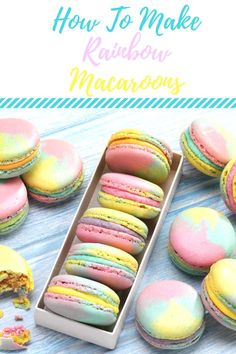 How sweet are these Rainbow Macaroons? These bright Rainbow Macaroons are ideal for gifting or to simply enjoy a little sweet treat. French Macaroon Recipes, French Macaroons, How To Make Macaroons, Pastel Macaroons, Baking Recipes, Cookie Recipes, Dessert Recipes, Tea Recipes, Rainbow Food