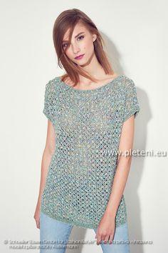 dámský letní ručně pletený svetřík z příze Summer Tweed a Summer Wave