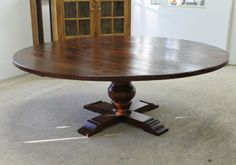 "84"" Reclaimed Wood Round Pedestal Table"