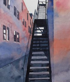 alley fire escape by Don Gore (dgdraws) Sketch Painting, Watercolor Sketch, Watercolor Paintings, Watercolors, Watercolor Ideas, Watercolor Architecture, Architecture Art, City Sketch, Architectural Features