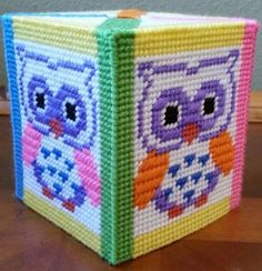 Handmade Needlepoint Plastic Canvas Tissue Box Cover - Neon Bright Owl #MujerVirtuosa