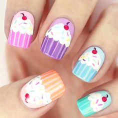 40 Awesome Nail Art Ideas by Hannah Weir - List Inspire Trendy Nail Art, Easy Nail Art, Nail Art Cupcake, Love Nails, Fun Nails, Nail Art Designs, Birthday Nail Art, Manicure, Kawaii Nails