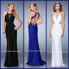 La Femme 22202 long prom dress - black prom dress - blue prom dress - white prom dress - homecoming dress - formal dress - pageant dress - net gown - sheer paneling - crystal bead embellished - open back - style inspiration