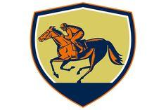 Jockey Horse Racing Shield Woodcut - Illustrations - 1