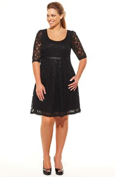 Lace baby doll dress/Black    Style No: D2099    Lace baby doll dress with elbow length sleeves.    This dress has a cute contrast underbust ribbon that bows at the back .    Fully lined, this dress has a neckline on the front and back. #fashion #plussize #2013
