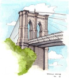 Sitting on the sidewalk near Pete's Downtown Restaurant, looking up at the Brooklyn side tower of the Bridge. Ink and watercolor. New York Illustration, Bridge Drawing, New York Painting, New York Buildings, City Sketch, Travel Sketchbook, Building Sketch, Architecture Sketchbook, New York Pictures