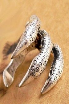 Silver Punk Style Sharp Talons Owl Claw Shape Ring