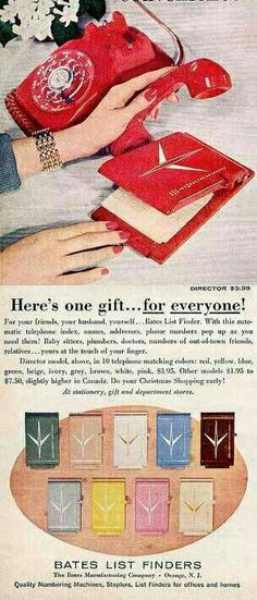 Match Your Nail Polish to Your Phone and Your Bates List Finder My parents still have one! Retro Advertising, Retro Ads, Vintage Advertisements, Vintage Ads, Vintage Posters, Funny Vintage, Office Girl, 1950s Ads, 1960s