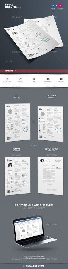 Resume \ Cover Letter Template Set Simple \ Colorful Design - colorful resume templates