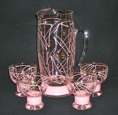Retro 1950s ATOMIC PINK Copper COCKTAIL PITCHER GLASSES Mid Century Modern JUICE