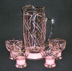 1950s ATOMIC PINK PITCHER GLASSES Mid Century Modern JUICE