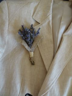 Items similar to Lavander And Burlap Lapel Pin - Country Weddings - European Elegant Wedding on Etsy Wheat Wedding, Boho Wedding, Elegant Wedding, Burlap Boutonniere, Boutonnieres, Bridesmaid Bouquet, Wedding Bouquets, Wedding Flowers, Lavender Bouquet
