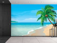 Wall26 - Large Wall Mural - Image of Tropical Scenery with Palm Trees | Self-adhesive Vinyl Wallpaper / Removable Modern Decorating Wall Art - 100'x144' >>> Want additional info? Click on the image. (This is an affiliate link) #EasyHomeDecor
